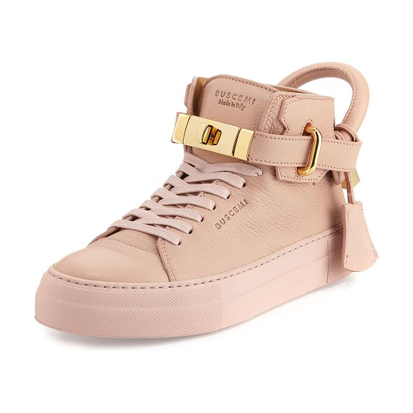 BUSCEMI Women's 100mm Turn-Lock Leather High-Top Sneaker in nude - Buscemi matte goat textured leather high-top sneaker....
