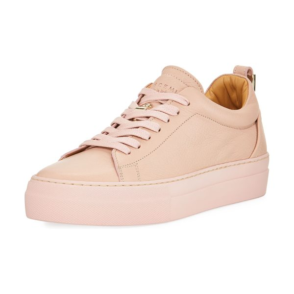BUSCEMI Alice Calf Leather Platform Tennis Shoe in dusty pink - Buscemi calfskin sneaker with tonal stitching. Flat heel...