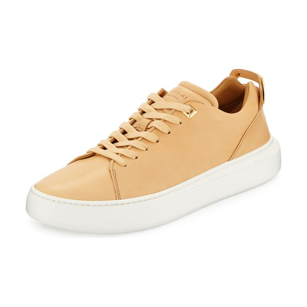 "BUSCEMI Women's 50mm Leather Low-Top Sneaker in khaki - Buscemi smooth leather low-top sneaker. 1"" flat heel;..."