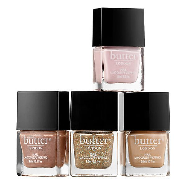 Butter London glitz & glam 4-piece nail lacquer collection - A four-piece nail polish set with three chic pastel...