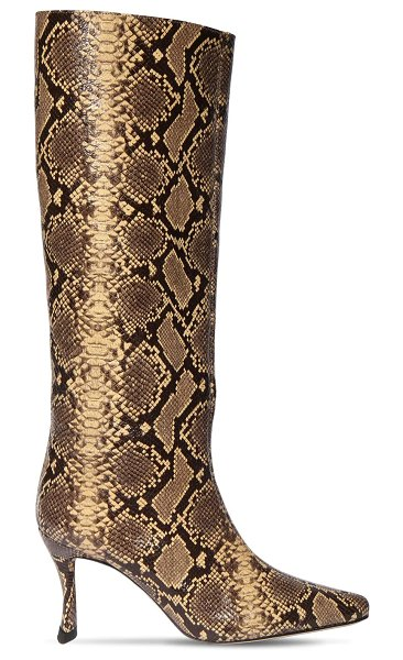 by FAR 75mm stivie python print leather boots in cream,black