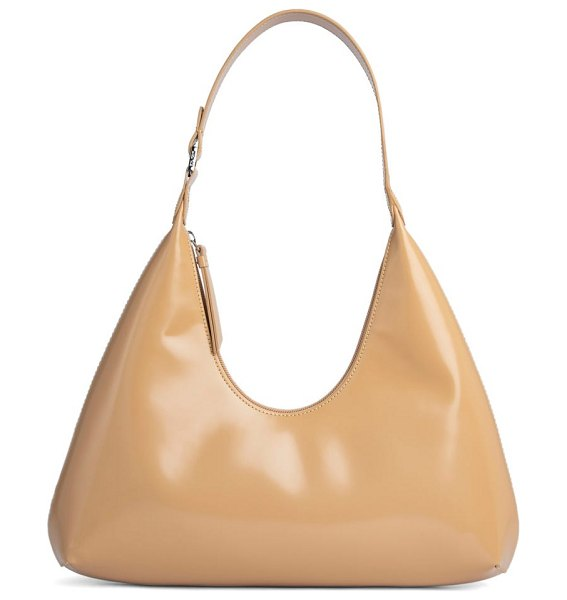 by FAR amber semi patent leather hobo bag in beige