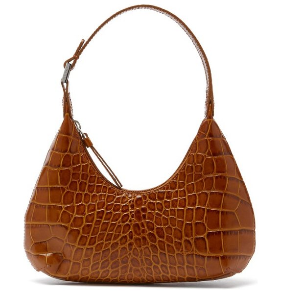 by FAR baby amber croc-effect leather mini shoulder bag in tan