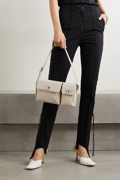by FAR billy glossed-leather shoulder bag in cream