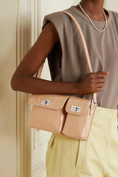 by FAR billy glossed-leather shoulder bag in sand