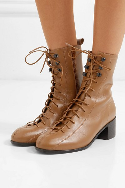 by FAR bota lace-up leather ankle boots in tan