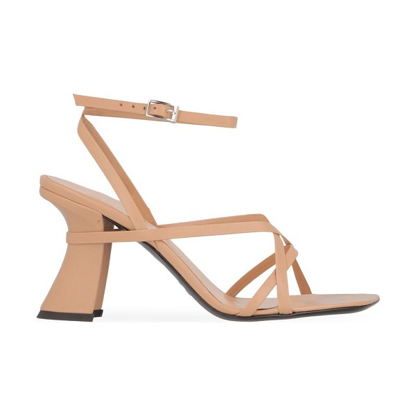 by FAR kersti square-toe leather sandals in nude