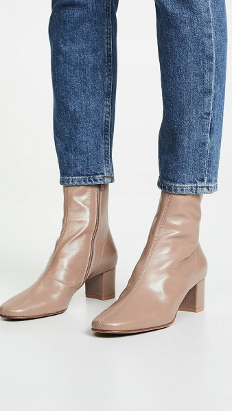 by FAR sofia booties in beige - Fabric: Smooth leather Leather: Calfskin Boots Chunky...