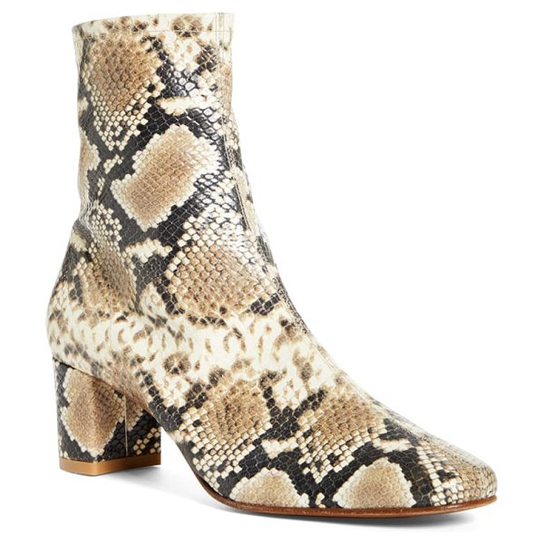 by FAR sofia snake embossed bootie in brown
