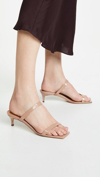 by FAR thalia mules in nude - Fabric: Patent leather Leather: Calfskin Mules Kitten...