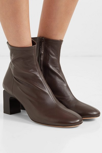 by FAR vasi leather ankle boots in dark brown