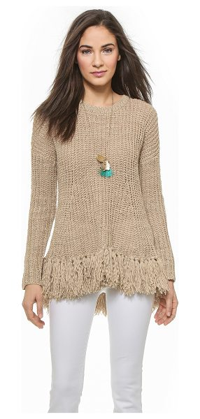 By Malene Birger Donnalie fringe bottom sweater in soft latte - Thick tassels accentuate the flared hem of this By...