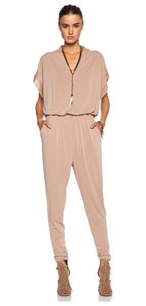 By Malene Birger Isina poly-blend jumpsuit in neutrals - Self: 96% poly 4% elastan - Contrast Fabric: 95% silk 5%...