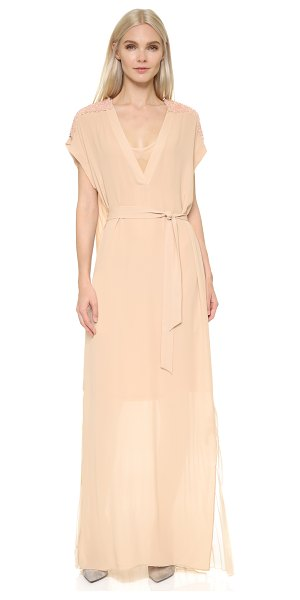 By Malene Birger Lanola maxi dress in champagne - Intricate beading highlights the shoulders of this airy...