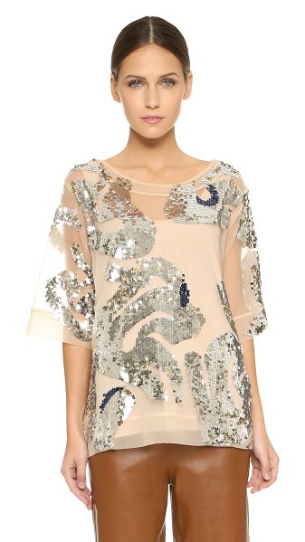 By Malene Birger Lipoh embellished top in champagne - Glamorous double sided sequins are an all over accent on...