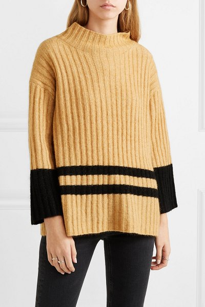 By Malene Birger paprikana striped knitted sweater in camel