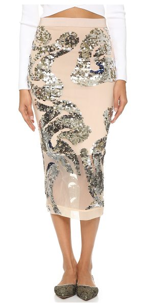 BY MALENE BIRGER Tabitae embellished skirt in champagne - Matte and mirrored sequins form a bold pattern on this...