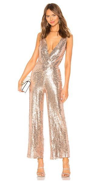 """by the way. Brandy Wide Leg Jumpsuit in metallic gold - """"95% poly 5% spandex. Hand wash cold. Allover sequin..."""