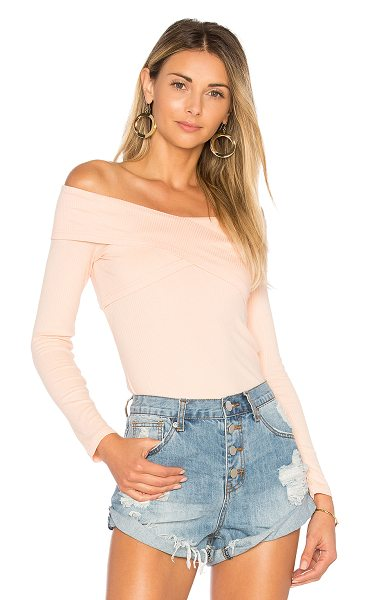 by the way. Briony Off Shoulder Top in peach - 100% cotton. Hand wash cold. Rib knit fabric. Crossover...