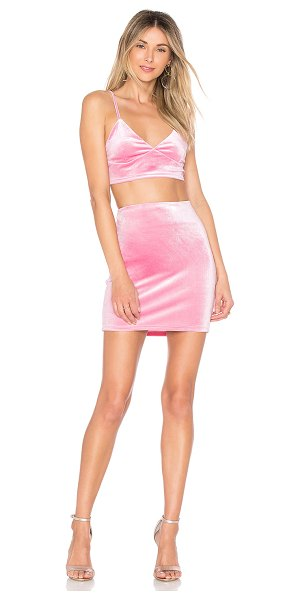 """by the way. Cole Velvet Cami Set in rose - """"Top & Bottom: 95% poly 5% elastane. Dry clean. Skirt..."""