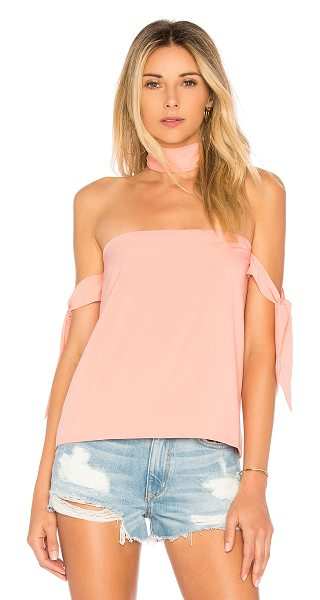 by the way. Cynthia Off Shoulder Top in blush - 97% poly 3% spandex. Hand wash cold. Detached necktie...