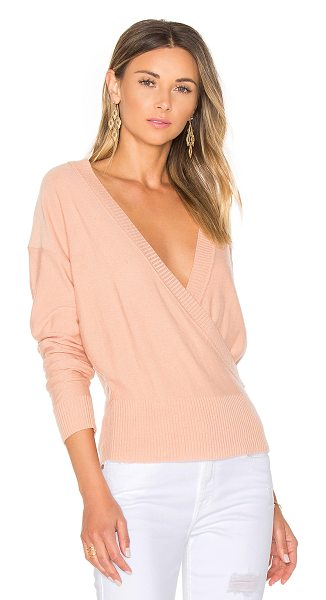 by the way. Danna Surplice Sweater in pink - 48% acrylic 46% nylon 6% wool. Hand wash cold. Knit...