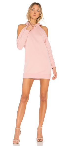by the way. Delia Cold Shoulder Sweatshirt Dress in pink - 100% cotton. Hand wash cold. Unlined. Attached hood....