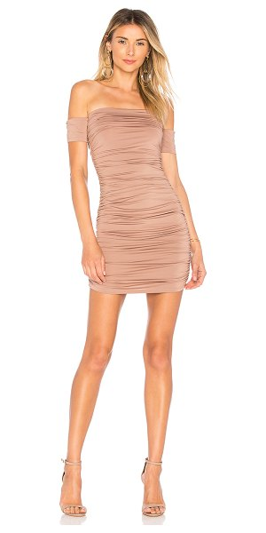 by the way. elora ruched off the shoulder dress in taupe