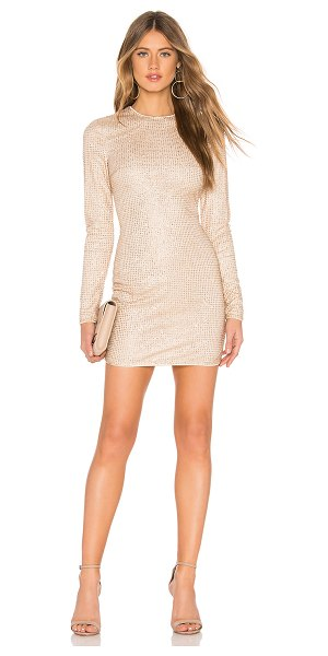 by the way. Evie Sparkle Mini Dress in metallic gold - 100% poly. Hand wash cold. Fully lined. Glittered...