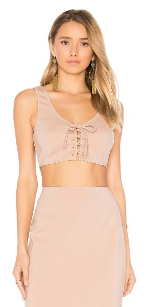 by the way. Gina Crop Top in beige - 60% rayon 35% nylon 5% spandex. Hand wash cold. Lace-up...