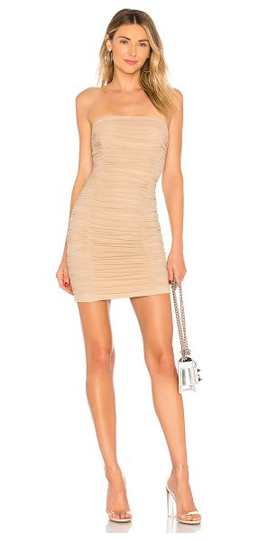 "by the way. Ivanna Ruched Sheer Strapless Dress in cream - ""Self: 95% poly 5% spandexLining: 96% poly 4% spandex...."