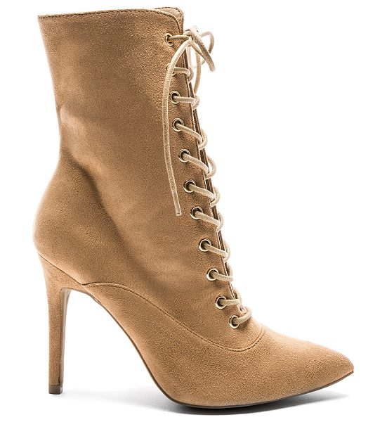 "by the way. Natalie Bootie in brown - ""Textile upper with man made sole. Side zip closure...."