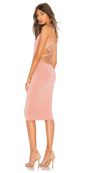 by the way. Reigh Strappy Midi Dress in mauve - 90% poly 10% spandex. Hand wash cold. Partially lined....