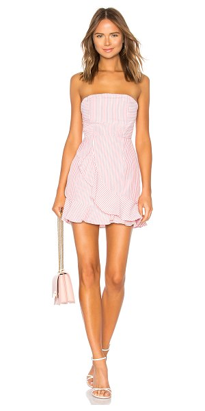 """by the way. Rosalie Stripe Ruffle Dress in pink - """"100% cotton. Hand wash cold. Fully lined. Non-slip..."""