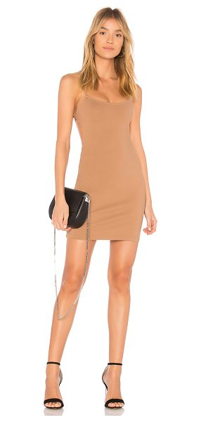 by the way. Solene Backless Mini Dress in tan - 60% rayon 35% nylon 5% spandex. Hand wash cold. Unlined....