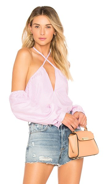 by the way. Suri Stripe Halter Top in pink - 60% poly 40% cotton. Hand wash cold. Criss-cross halter...
