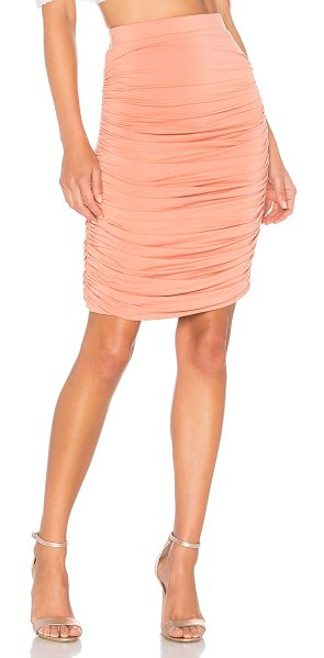 "by the way. Tatiana Ruched Midi Skirt in blush - ""94% rayon 6% spandex. Hand wash cold. Fully lined...."