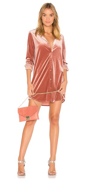 by the way. Vella Velvet Mini Dress in blush - 95% poly 5% spandex. Dry clean. Unlined. Front button...