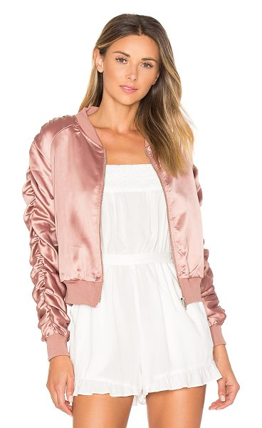 by the way. Zana Ruched Bomber in blush - Self & Lining: 100% poly. Hand wash cold. Zip front...