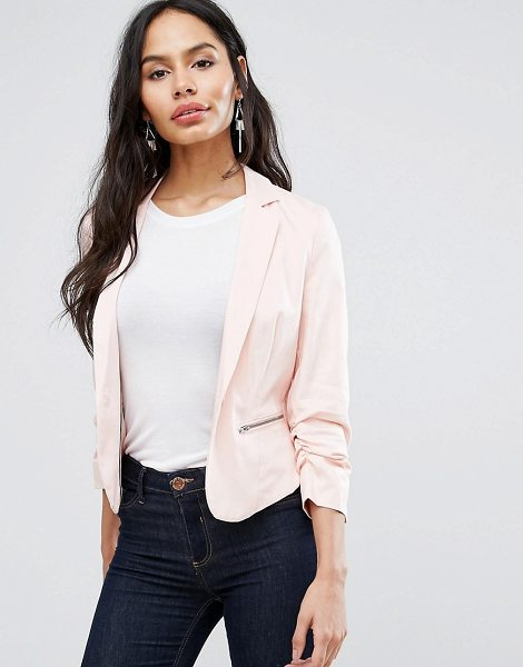 "B.young B.Young Tailored Blazer With Zip Detail in pink - """"Blazer by b.Young, Cotton-rich woven fabric, Notch..."