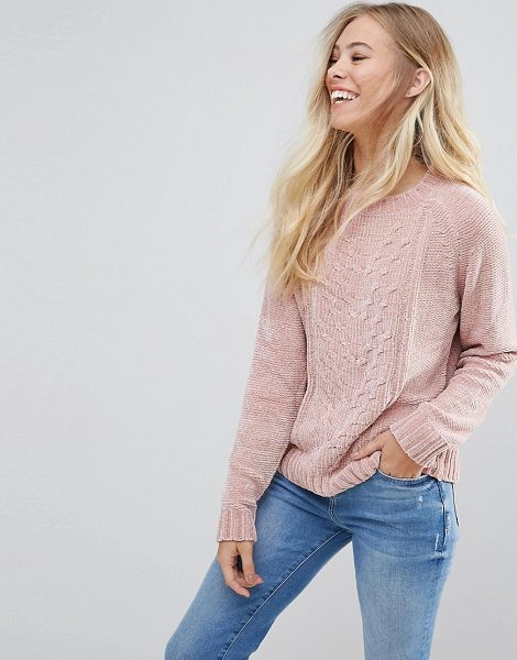 B.young Chenille Fitted Sweater in pink - Sweater by b.Young, Soft chenille fabric, Crew neck,...