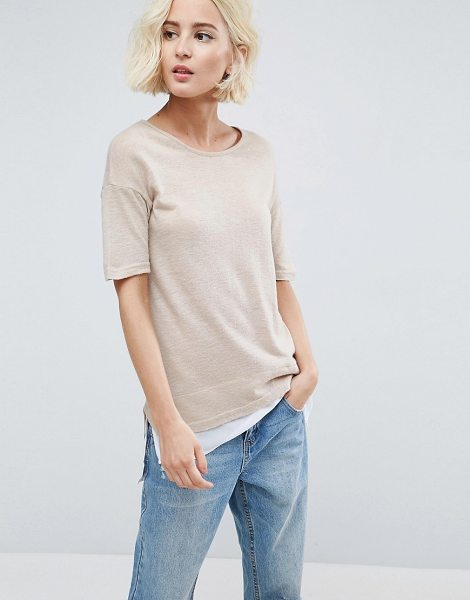 B.young Double Layer T-Shirt in beige - Top by b.Young, Lightweight fine knit, Round neck,...