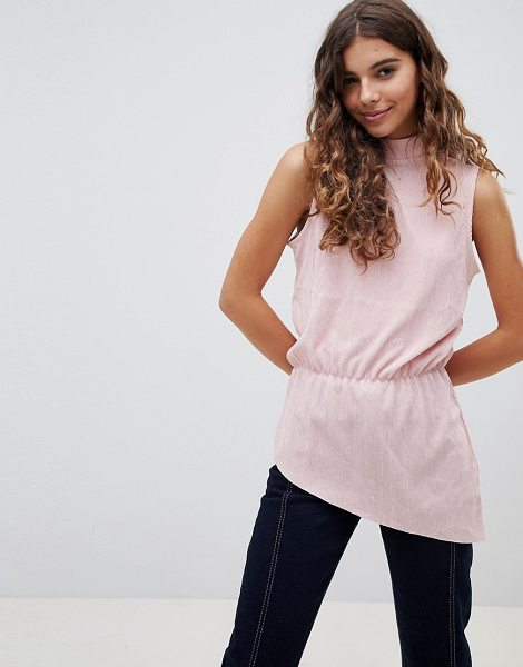 B.young high neck asymmetric blouse in rosepearl - Top by b.Young, High neck, Sleeveless style, Asymmetric...
