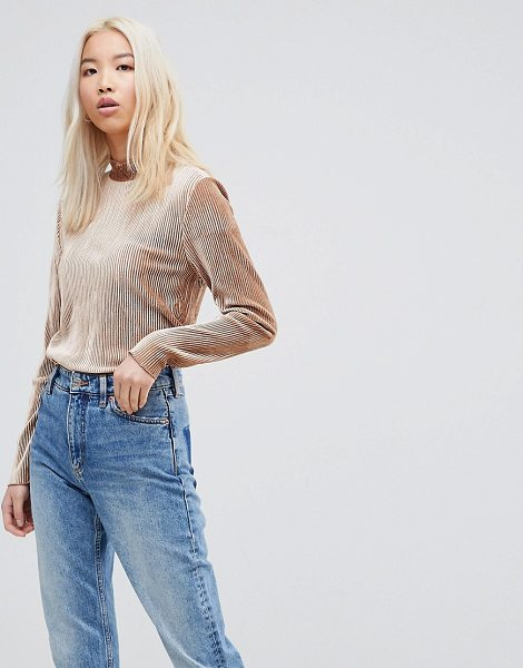 B.young high neck velvet stripe top in carameltoffee - Top by b.Young, Add another one to the collection, High...