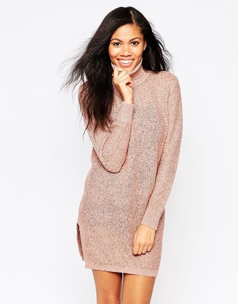 B.young Roll neck sweater dress in pink - Casual dress by b. Young Lightweight, open gauge knit...