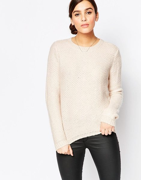 B.young Round neck sweater in latte - Sweater by b.Young, Textured knit, Round neckline,...