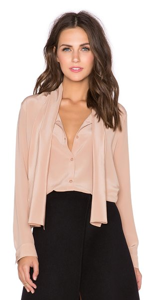 Cacharel Ruffle cuff top in beige - 100% silk. Dry clean only. Button front closure....