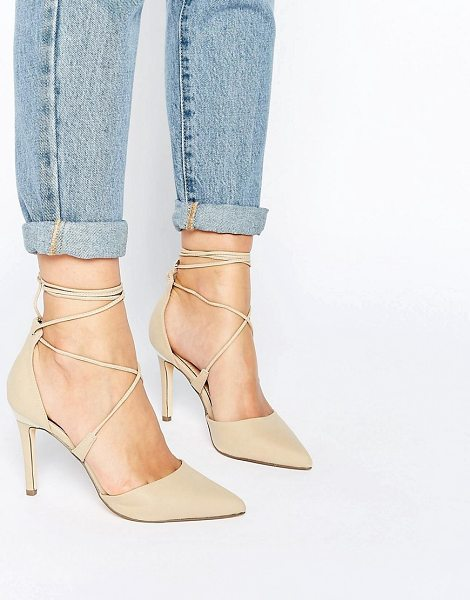Call It Spring Call It Spring Argaine Lace Up Detail Pointy Pump in cream - Shoes by Call It Spring, Faux-leather upper, Lace-up...
