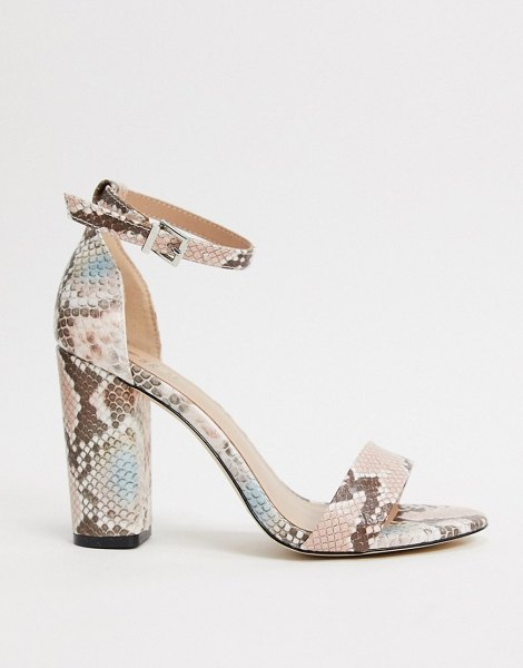 Call It Spring by aldo tayvia ankle strap block heeled sandal in light pink snake in pink