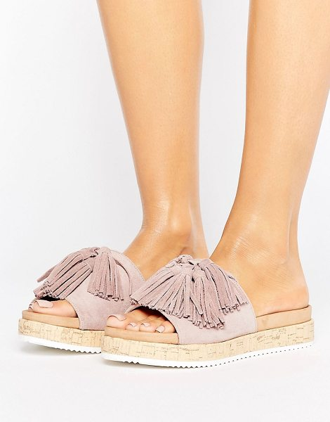 Call It Spring Call It Spring Pucallpa Blush Sliders With Suede Tassels in pink - Sandals by Call It Spring, Textile upper, Slip-on style,...